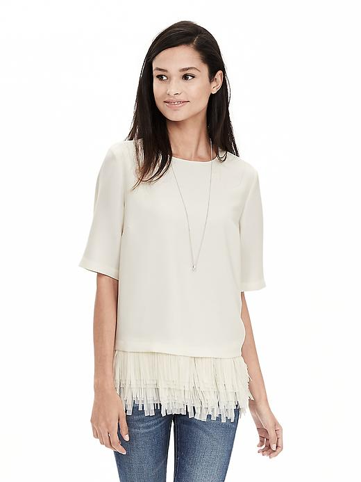 Banana Republic Womens Crepe Fringe Top Size L - Cocoon