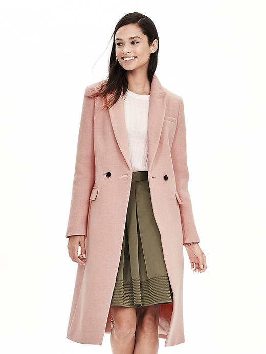 Banana Republic Pink Double Breasted Coat Size L - Pink blush