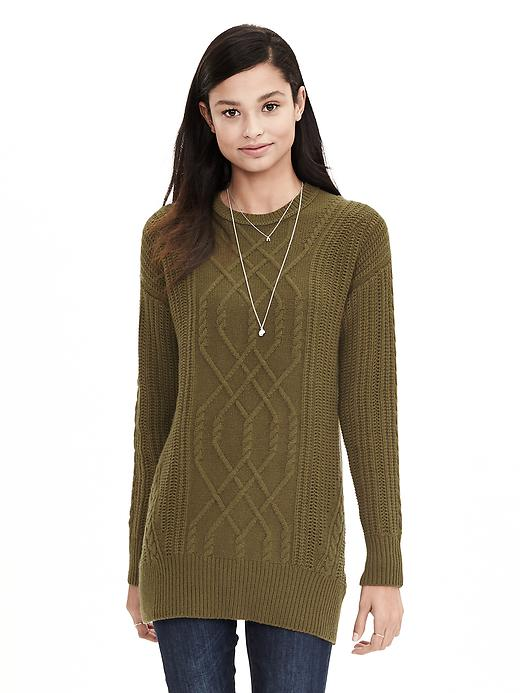 Banana Republic Womens Todd & Duncan Cable Knit Cashmere Tunic Size S - Green