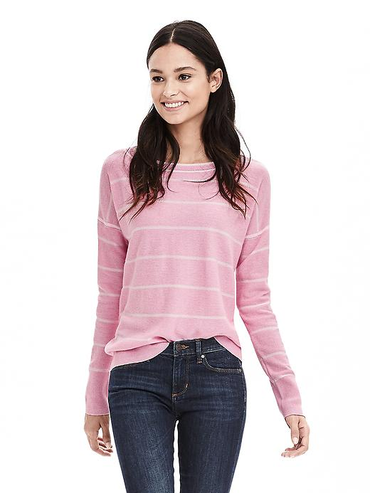 Banana Republic Womens Tipped Stripe Italian Cashmere Blend Sweater Size L - Pink mist