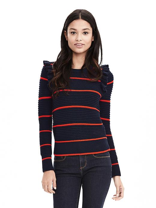 Banana Republic Striped Ruffle Pullover Sweater Size M - Navy