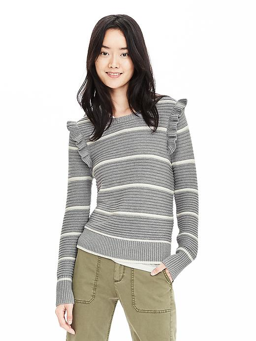 Banana Republic Striped Ruffle Pullover Sweater Size XS - Gray