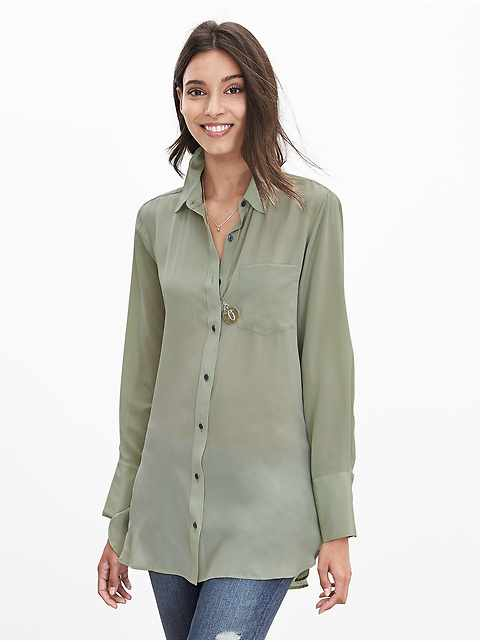 Petite Semi-Sheer Silk High-Low Blouse