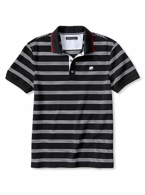 Slim-Fit Multi-Stripe Pique Polo