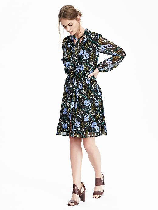 Banana Republic Womens Floral Tie Neck Dress Size M - Moonless night