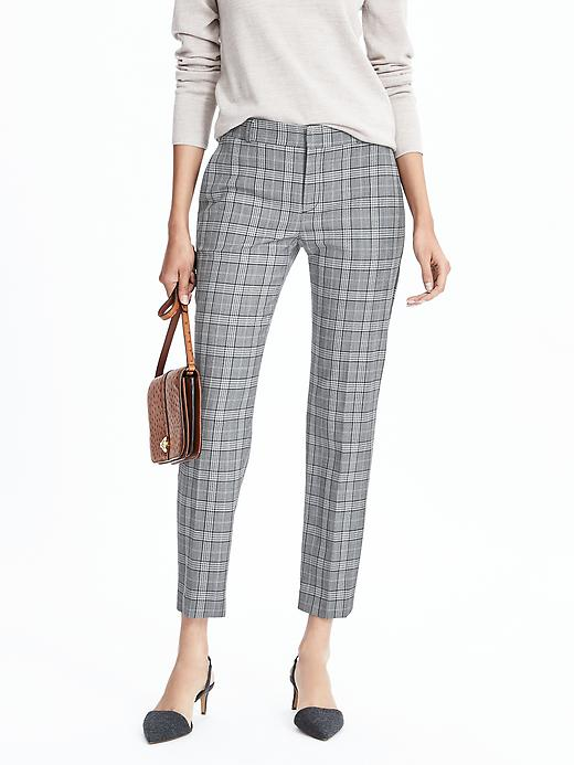 Banana Republic Womens Avery Fit Plaid Ankle Pant Size 0 Regular - Gray glen plaid