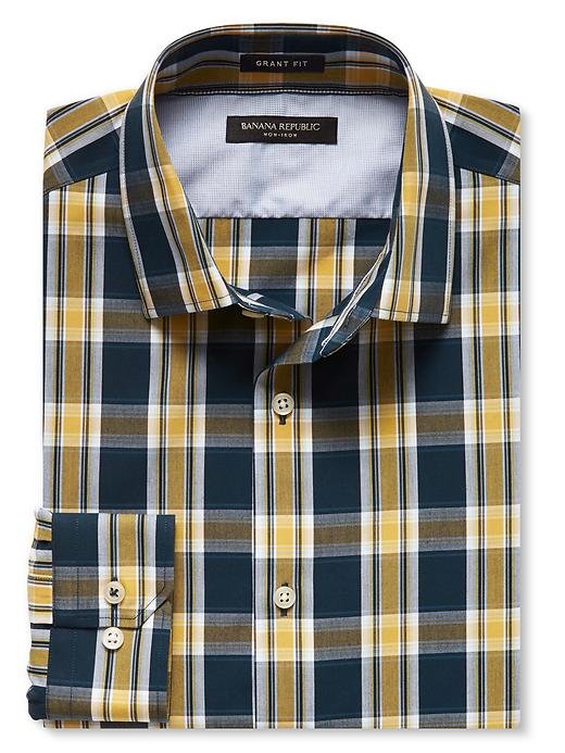 Banana Republic Grant Fit Non Iron Large Bold Check Shirt Size S - Gold plate