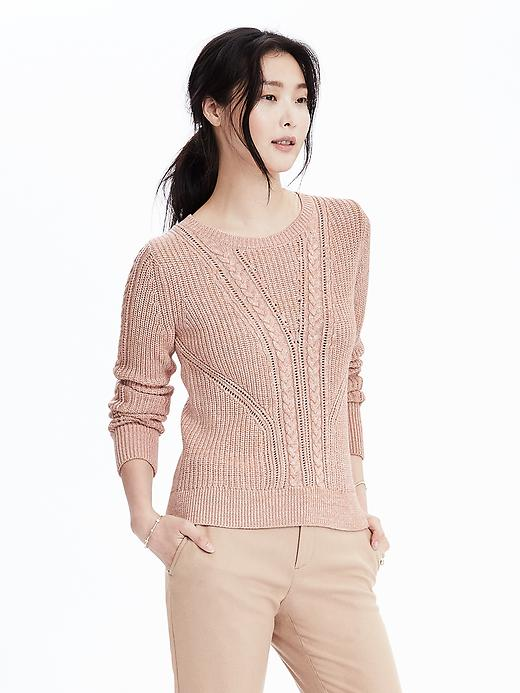Banana Republic Cable Pullover Sweater Size L - Pink blush