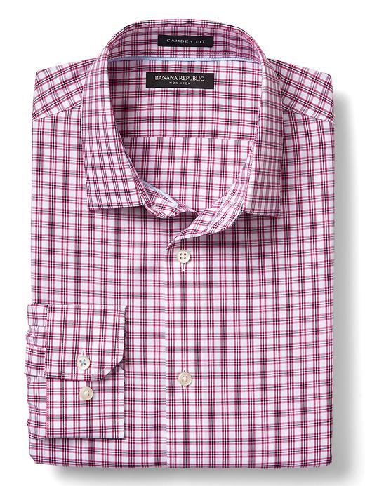Banana Republic Mens Camden-Fit Non-Iron Small Multi Check Shirt Pop Pink Size L