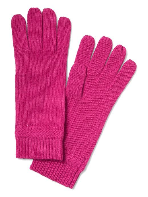 Banana Republic Todd & Duncan Chevron Rib Cashmere Glove Size One Size - Hot pink