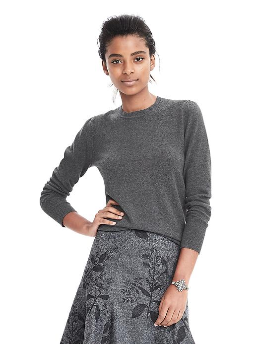 Banana Republic Italian Cashmere Blend Puff Sleeve Crew Pullover Size S - Dark charcoal heather