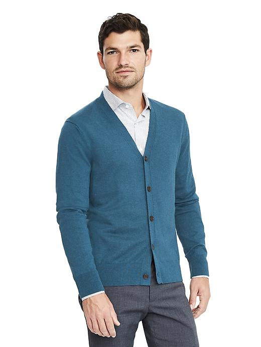 Banana Republic Mens Silk Cotton Cashmere Cardigan Size L Tall - Seascape blue