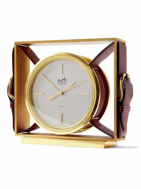 LUXE FINDS &#124 Hermès Burgundy Gold Clock