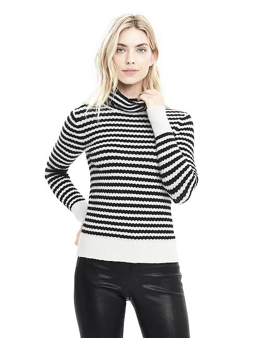 Banana Republic Womens Stripe Aire Yarn Turtleneck Sweater Size L - Black