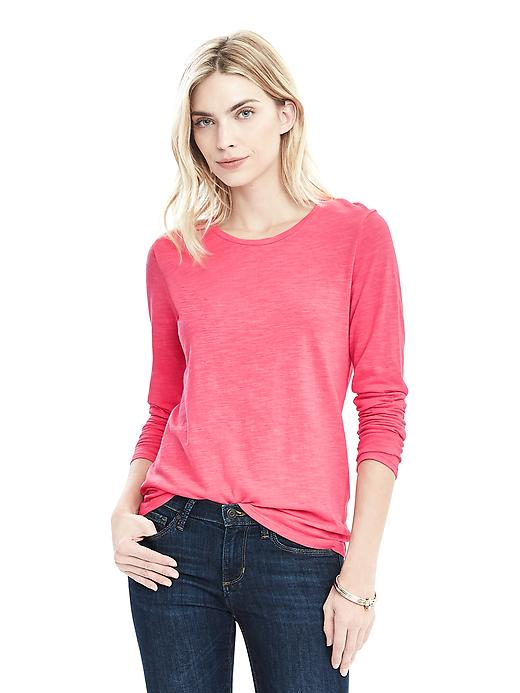 Banana Republic Long Sleeve Cotton Modal Crew Size XL - Neon coral reef