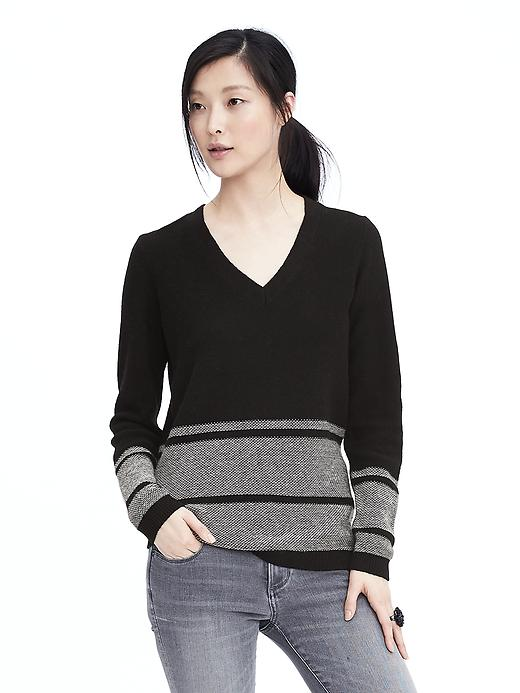 Banana Republic Womens Italian Cashmere Blend Striped Vee Neck Sweater Size L - Black