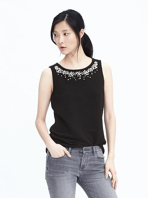 Banana Republic Womens Pearl Embellished Top Size L - Black