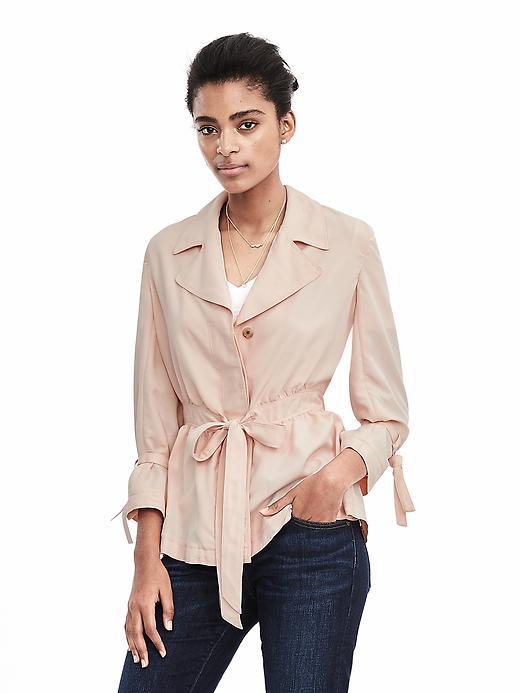 Banana Republic Belted Jacket Blouse Size L - Pink blush