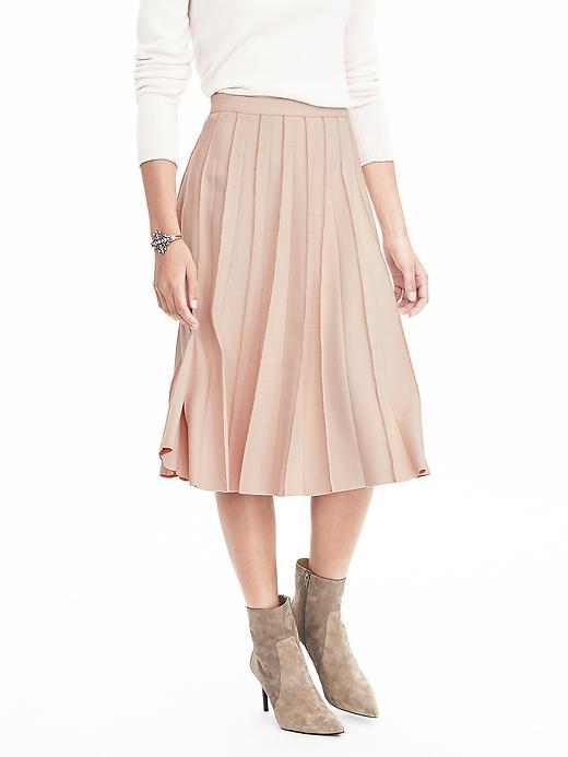 Banana Republic Womens Pleated Pink Midi Skirt Size 4 Petite - Pink blush