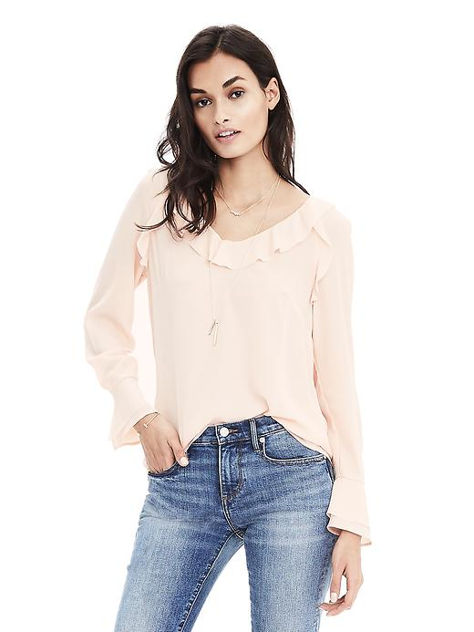 Banana Republic Easy Care Layered Cuff Blouse Size L - Pink blush
