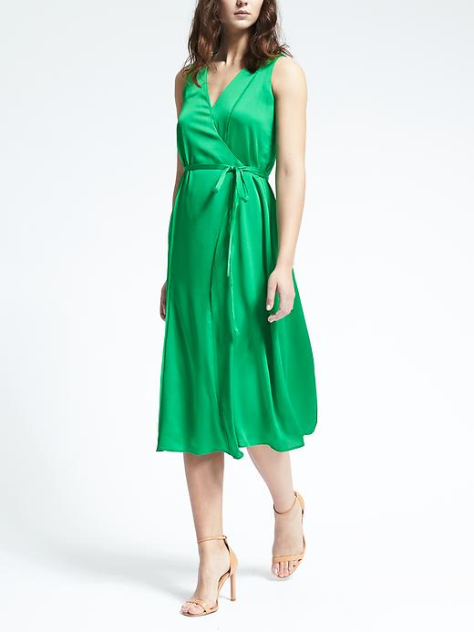 Banana Republic Womens Sleeveless Vee Neck Wrap Dress Size M Tall - Green