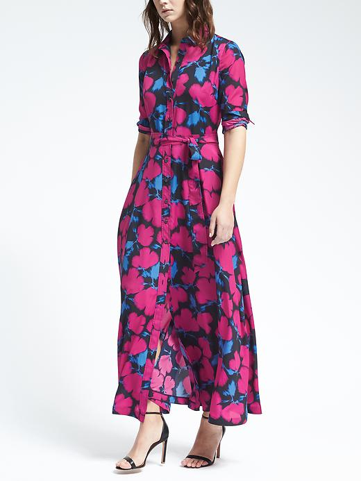 Banana Republic Womens Floral Maxi Shirt Dress Size 0 - Bright magenta