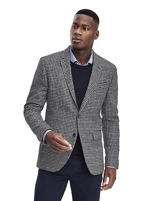 Banana Republic Standard Navy Houndstooth Wool Sport Coat Size 36 Short - Navy/charcoal
