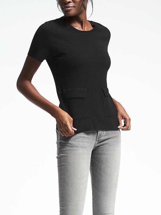 Banana Republic Milano Stitch Pocket Pullover Size XS - Black