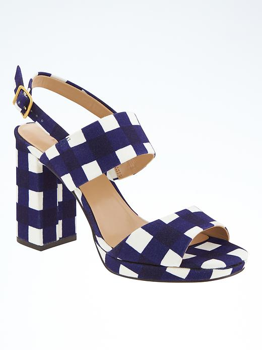 4751de3709f Banana Republic Womens Block Heel Sandal Size 8 - Midnight gingham