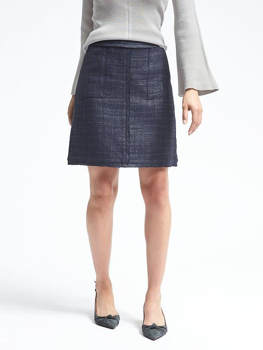 Banana Republic Womens Frayed-Edge Tweed Skirt Navy Size 10