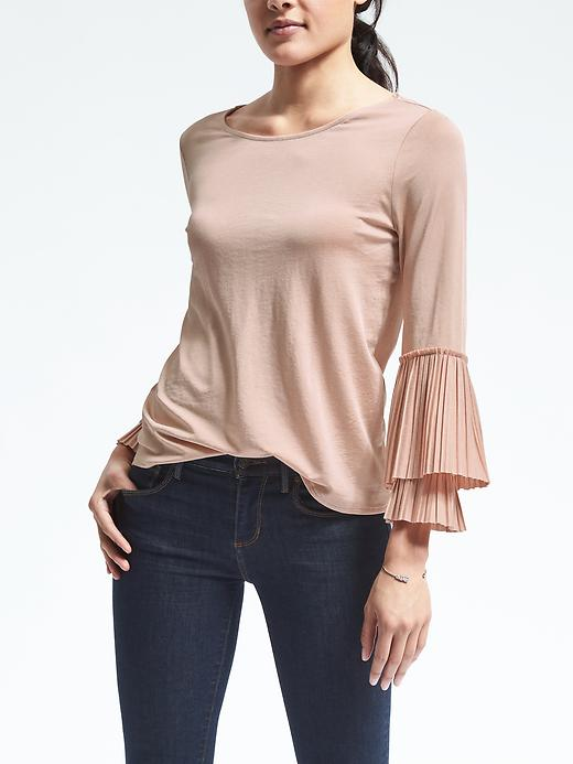 Banana Republic Womens Pleated Sleeve Blouse Size L - Blushing pink