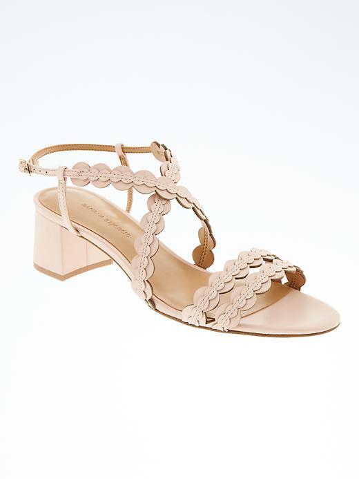 Banana Republic Scalloped Block Heel Sandal Size 8 1/2 - Pink blush