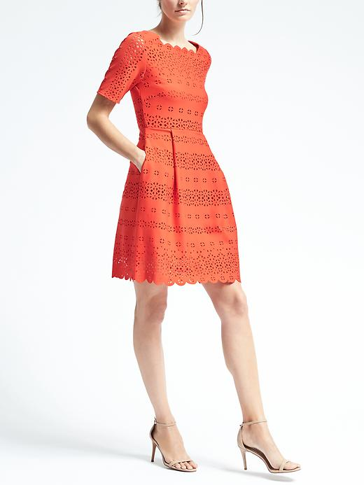Banana Republic Womens Laser Cut Fit & Flare Dress Size 0 Petite - Geo red
