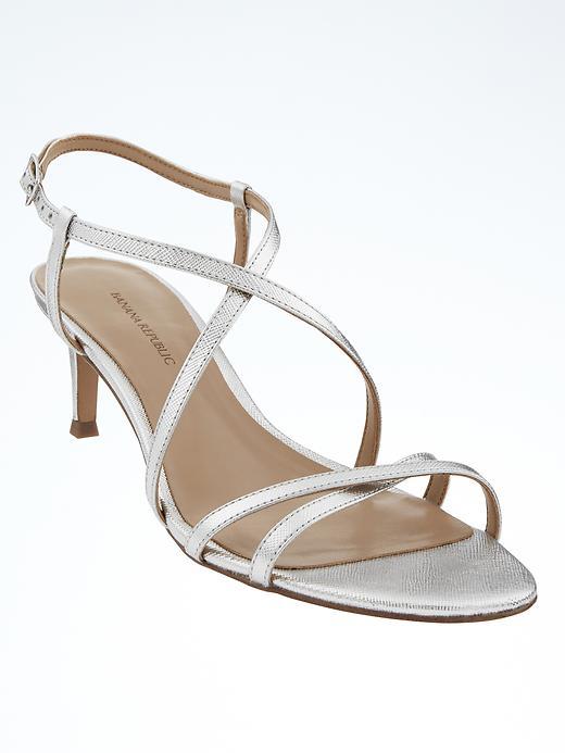 Banana Republic Womens Crossover Kitten Heel Sandal Size 10 - Silver