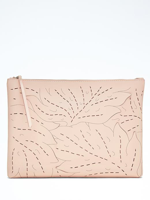 Banana Republic Laser Cut Leaf Large Zip Pouch Size One Size - Pink blush
