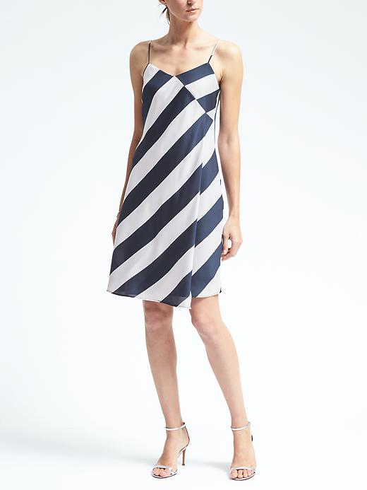 Banana Republic Stripe Cascade Slipdress Size 0 Petite - Bold blue stripe