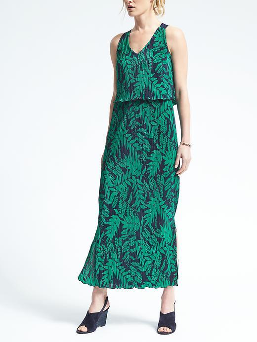 Banana Republic Womens Fern Print Layered Pleat Maxi Dress Size L Petite - Fern print