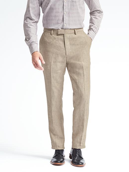 Banana Republic Mens Standard Solid Linen Suit Trouser Size 29W 30L - Khaki