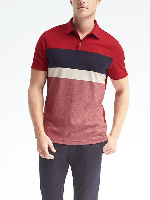 Banana Republic Mens Luxury Touch Chest Stripe Polo Size L Tall - Red