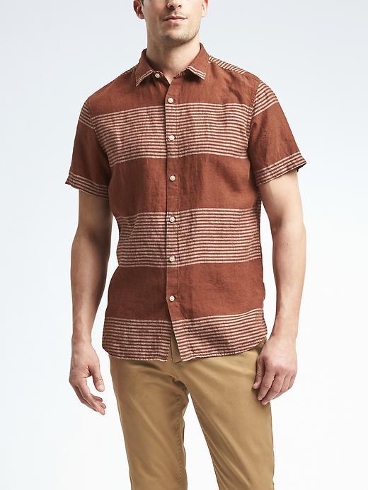Banana Republic Camden Fit Short Sleeve Stripe Linen Shirt Size L Tall - Muir wood