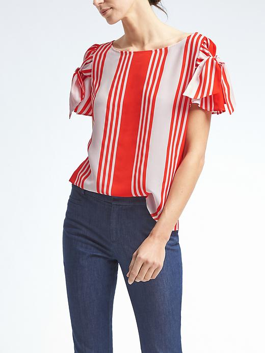 Banana Republic Easy Care Stripe Bow Sleeve Top Size XS - Red glow