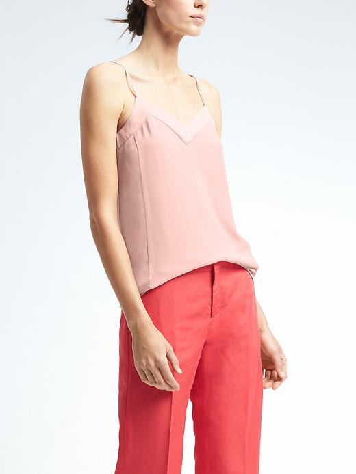 Banana Republic Easy Care Seamed Crepe Cami Size 4 - Pink blush/champagne