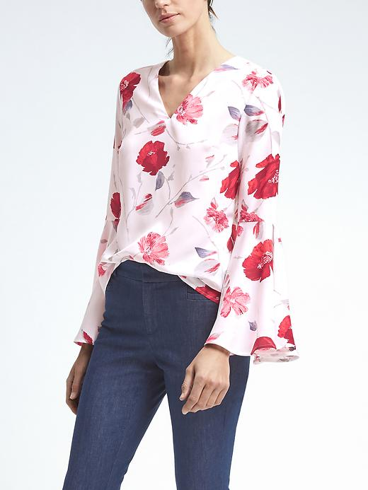 Banana Republic Easy Care Floral Flare Sleeve Top Size XS Petite - White