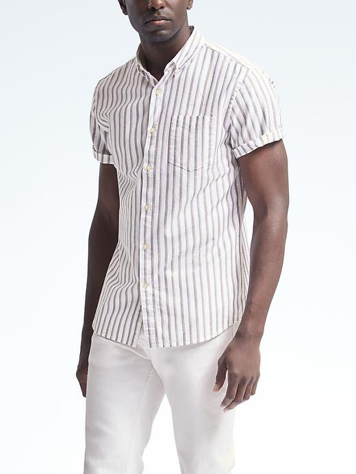 Banana Republic Mens Grant Fit Short Sleeve Cotton Stretch Shirt Size L Tall - White
