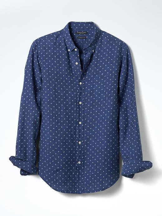 Banana Republic Camden Fit Dot Linen Shirt Size L - Navy