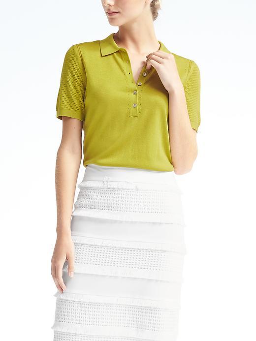 Banana Republic Womens Silk Cotton Pointelle Polo Size L - Citron