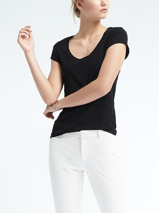 Banana Republic Womens Essential Stretch To Fit Scoop Tee Size L - Black
