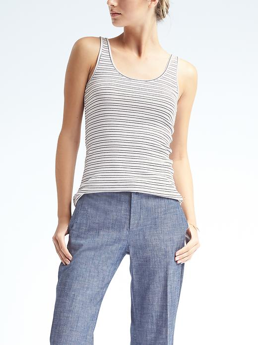 Banana Republic Womens Essential Stretch To Fit Stripe Ribbed Tank Size L - White
