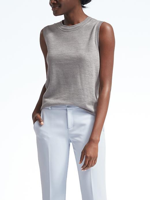 Banana Republic Womens Merino Pointelle Shell Size S - Light gray heather