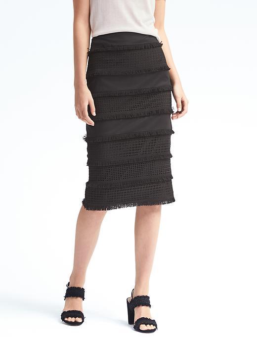 Banana Republic Womens Lace Midi Pencil Skirt Size 0 - Black